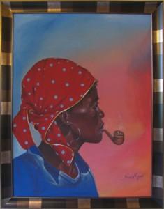 Haitańska sztuka naiwna - Ronald Boyer - Kobieta z fajką