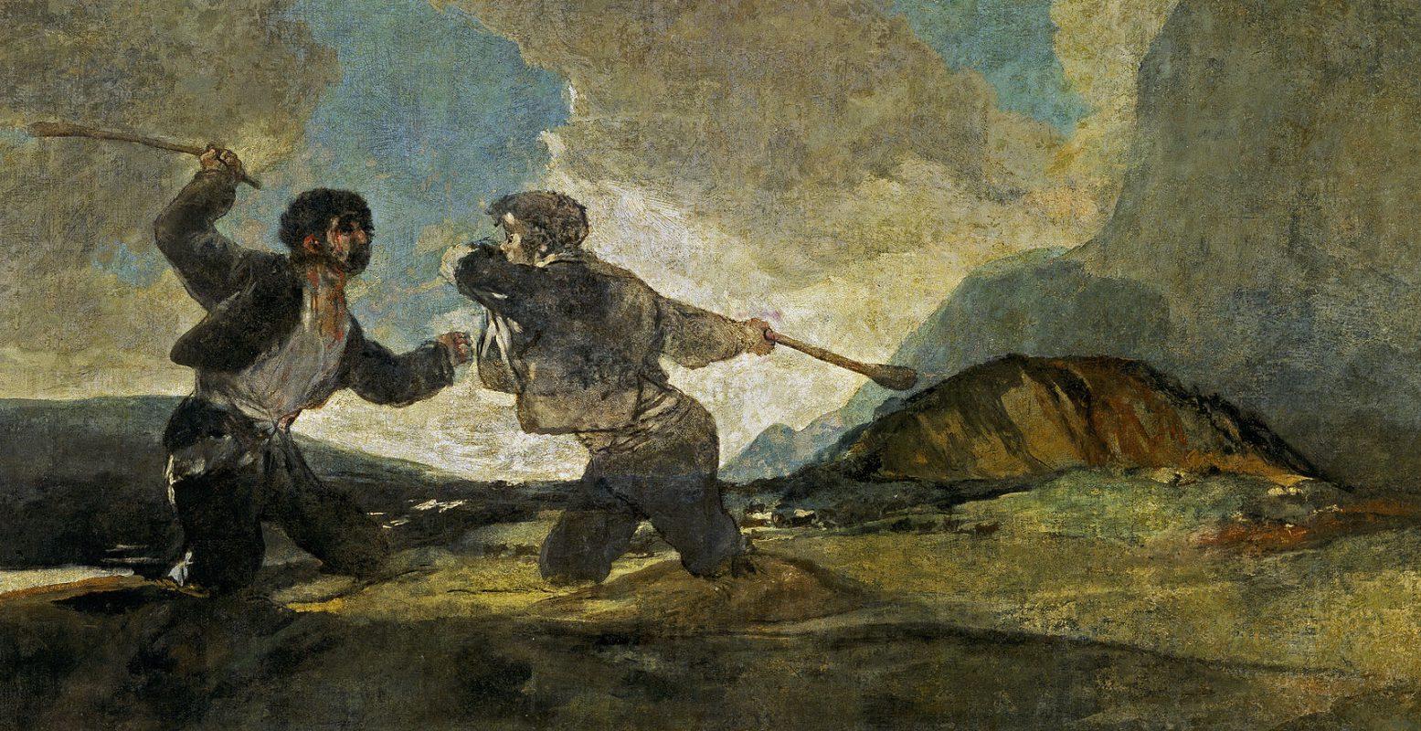Francisco Goya - okładajacy się kijami