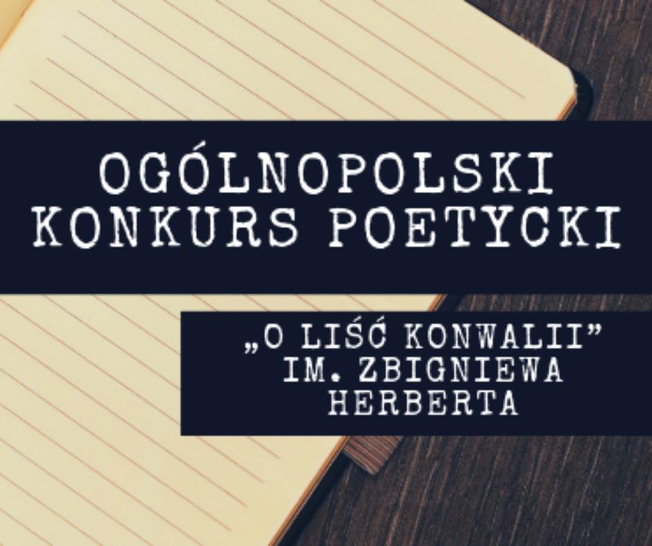 Xxxiii Ogólnopolski Konkurs Poetycki O Liść Konwalii 2019